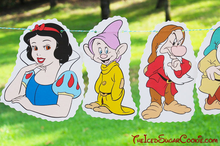 Snow White And The Seven Dwarfs DIY Birthday Party Flag Hanging Banner Ideas- Dopey, Grumpy, Sleepy, Doc, Sneezy, Bashful, Happy