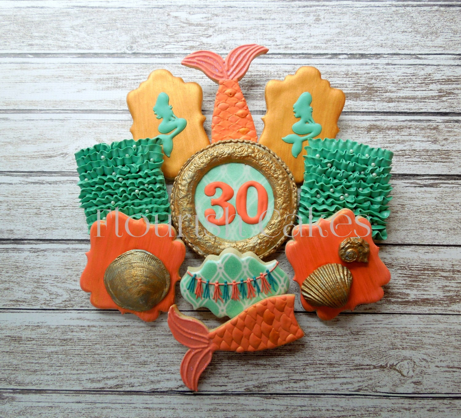 """Mermaid Tails, Waves, & Seashells"" Under The Sea Birthday Party Sugar Cookies"