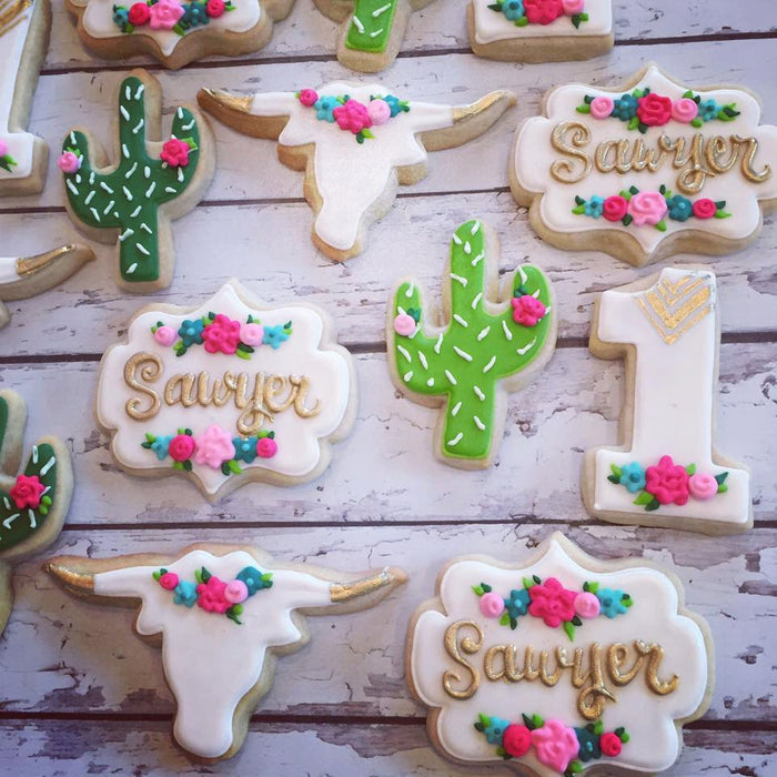 Southwestern Chic Birthday Party Sugar Cookies TheIcedSugarCookie.com Hayley Cakes And Cookies