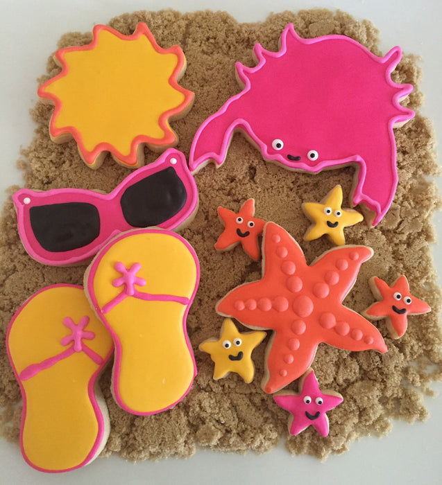 Summer Fun N' Sun Sugar Cookies-Crabs, Sunglasses, Starfish, Flip Flops, Sun TheIcedSugarCookie.com Savanna Sweets