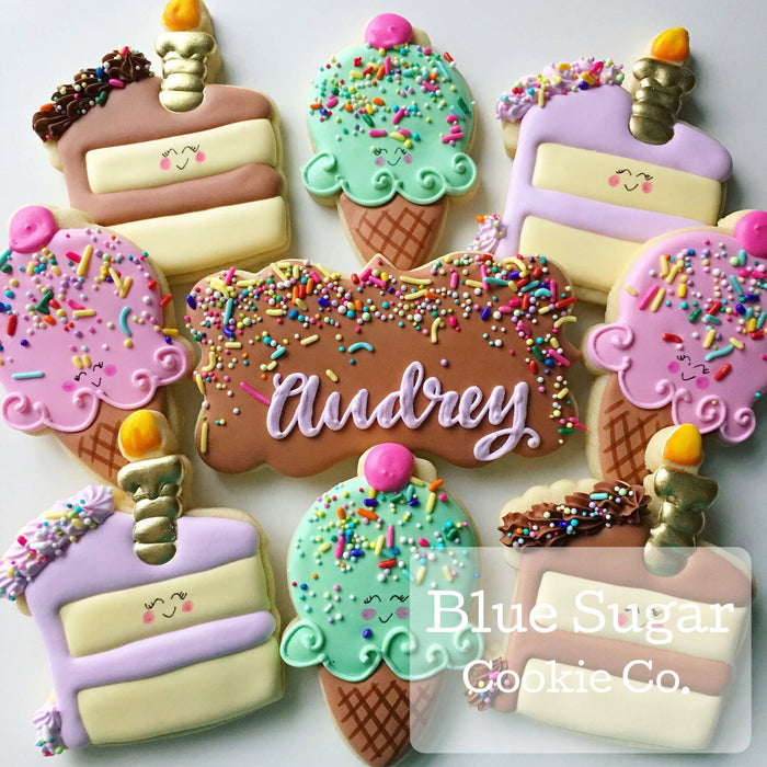 Ice Cream Cones And Birthday Cake Sugar Cookies TheIcedSugarCookie.com Blue Sugar Cookie Co.