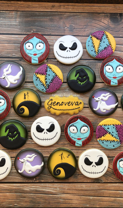 The Nightmare Before Christmas Halloween Iced Sugar Cookies, Jack Skellington, Sally, Oogie Boogie, Zero created by Lucianas Royal Cookies on TheIcedSugarCookie.com