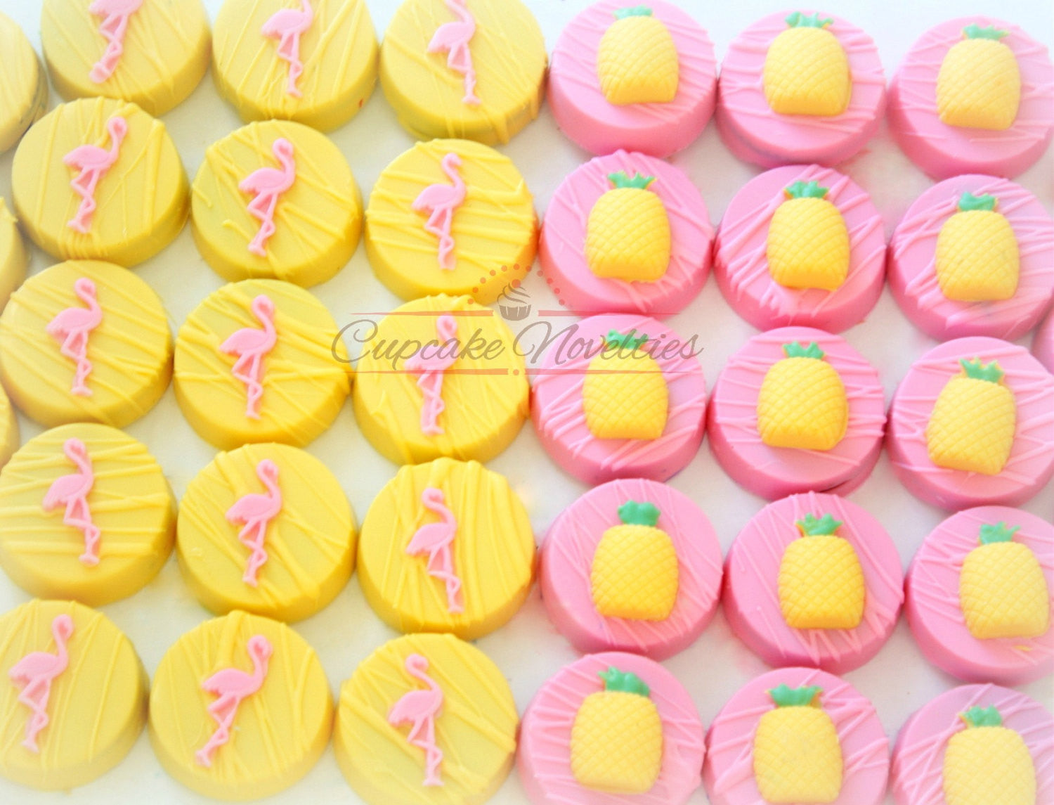 Tropical Flamingos And Pineapples Birthday Party Food TheIcedSugarCookie.com Cupcake Novelties