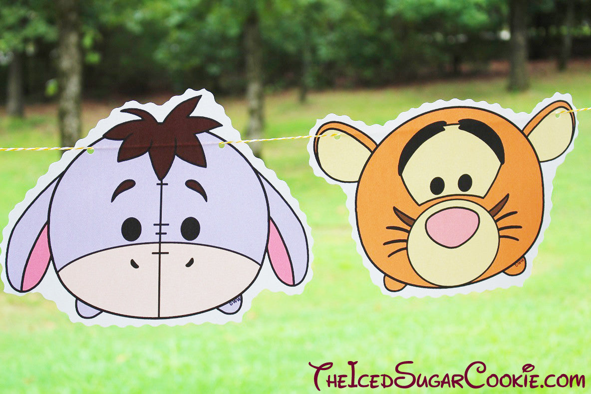 Tsum Tsum Birthday Party Flag Hanging Banner DIY Idea-Winnie The Pooh Bear, Mickey Mouse, Minnie Mouse, Goofy, Eeyore, Tigger, Pluto, Piglet