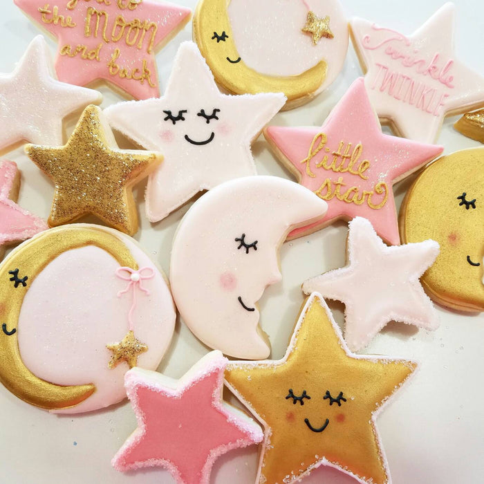 Twinkle Twinkle Little Star Baby Shower Cookies-Stars & Moons TheIcedSugarCookie.com Kessa Cakes