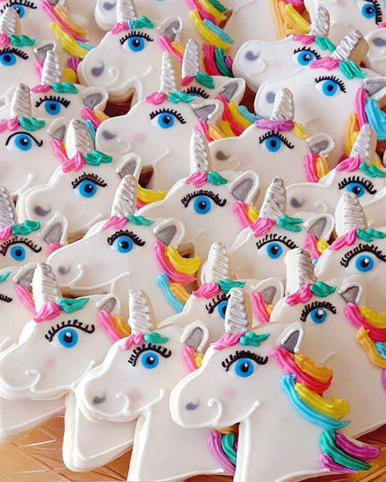 Whimsical Unicorn Birthday Party Sugar Cookies TheIcedSugarCookie.com Cookie Me Sweet