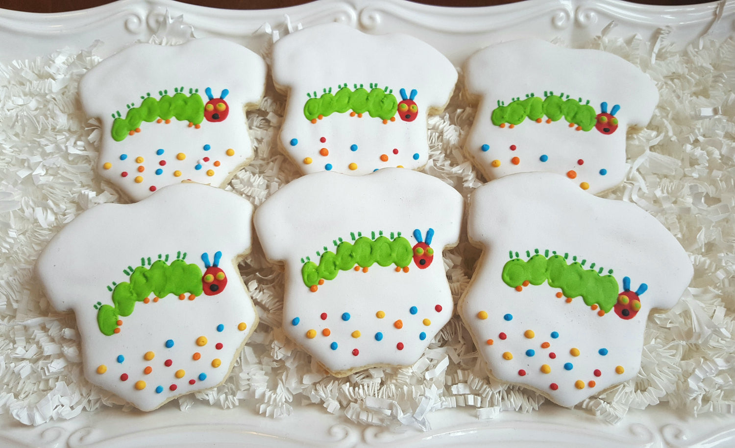 The Very Hungry Caterpillar Onesie Birthday Party Cookies