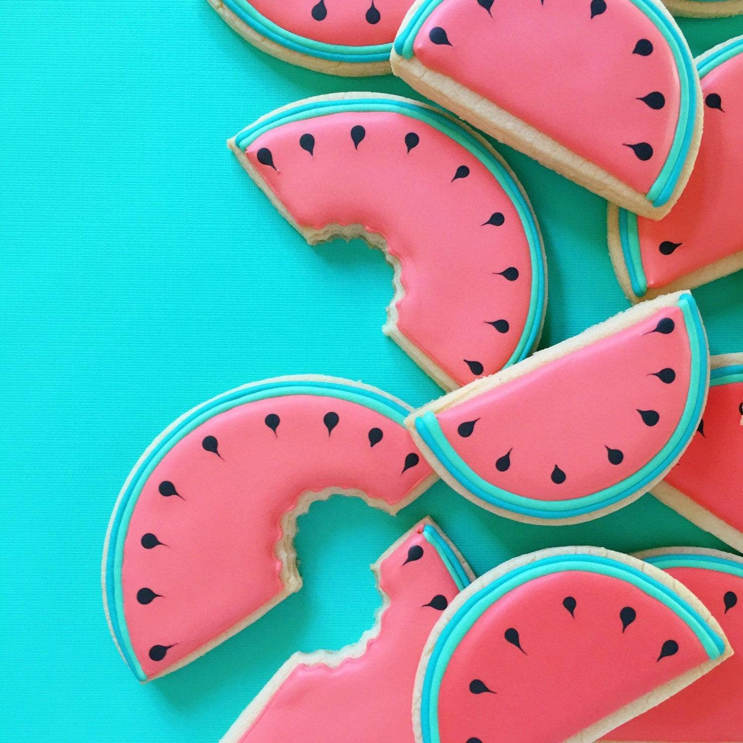 Watermelon Iced Sugar Cookies