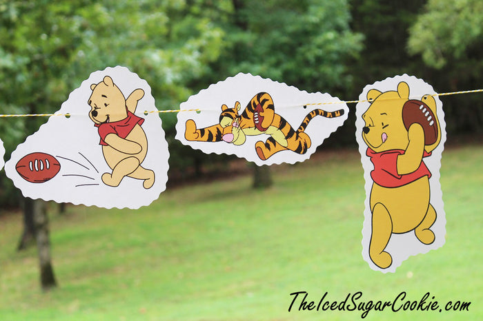 Winnie The Pooh, Tigger, Piglet Palying Football Flag Hanging Banner DIY Ideas