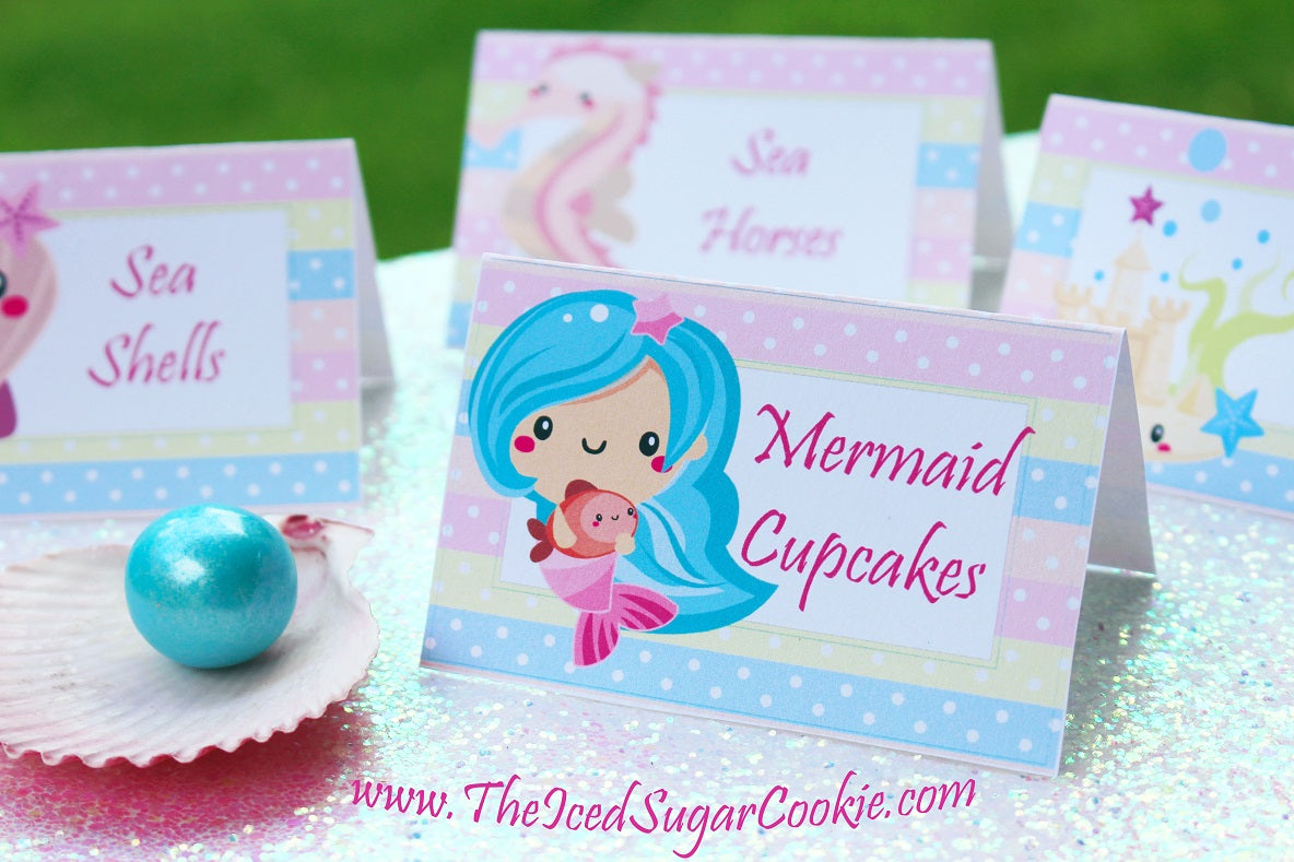 Mermaid Food Cards Digital Download by TheIcedSugarCookie.com