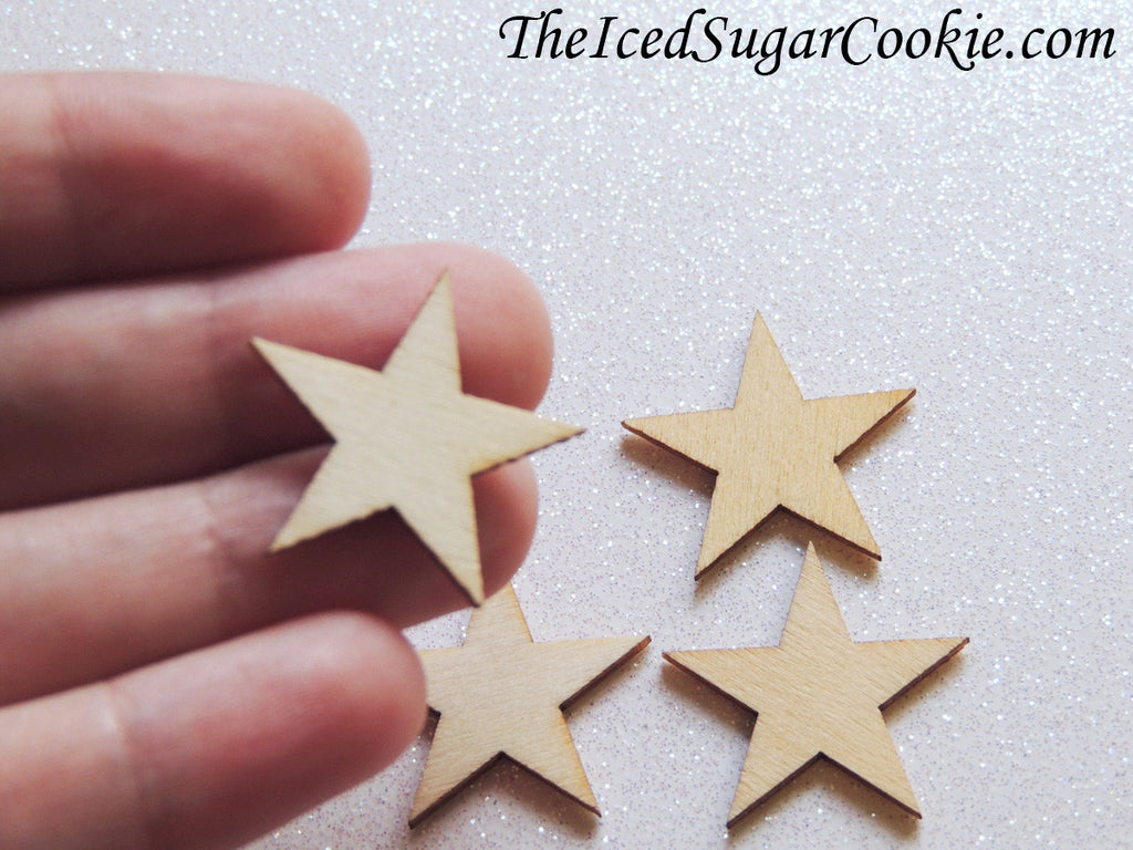 1 Inch Wooden Stars Wood Stars DIY Craft Making Supplies Mermaid Birthday Party Baby Shower Weddings-TheIcedSugarCookie.com