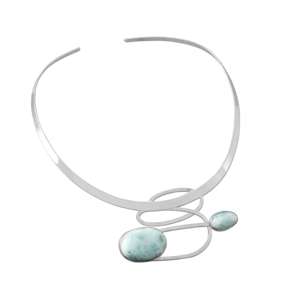 .925 Sterling Silver Larimar Collar Necklace by The Iced Sugar Cookie