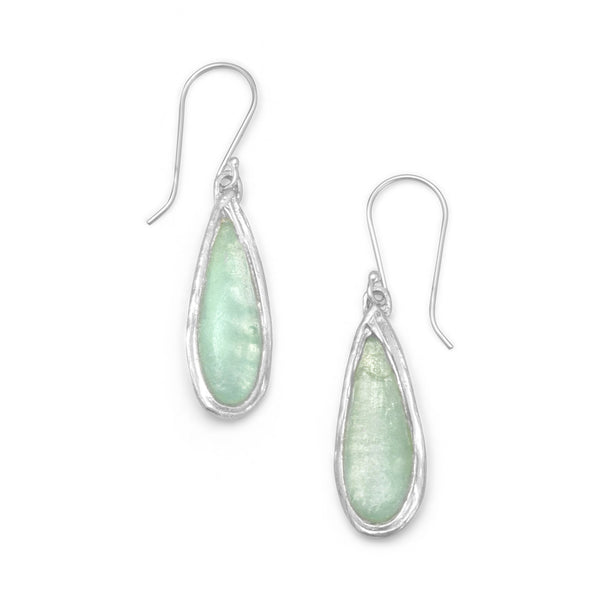Ancient Roman Glass Drop Earrings .925 Sterling Silver by The Iced Sugar Cookie