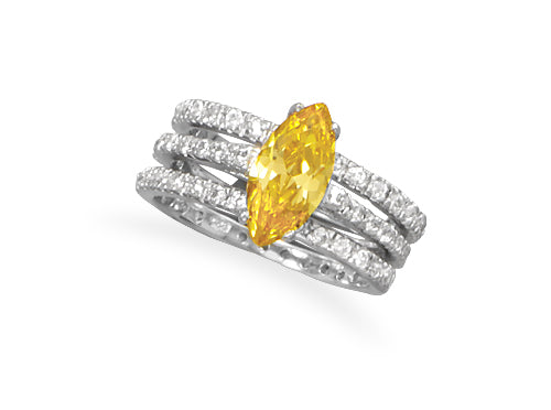 .925 Sterling Silver Lemonade CZ 3 Ring Set by The Iced Sugar Cookie- Yellow Cubic Zirconia Jewelry Summer Jewelry Collection 2016