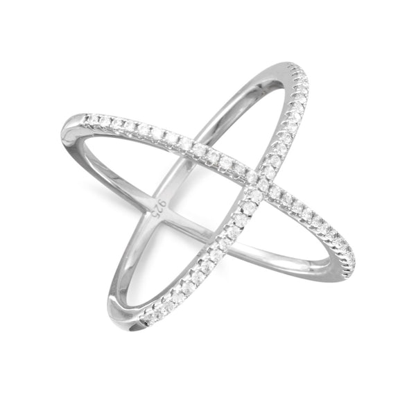 .925 Sterling Silver Criss Cross CZ Ring by The Iced Sugar Cookie- Fashion Rings Cute Midi Unique