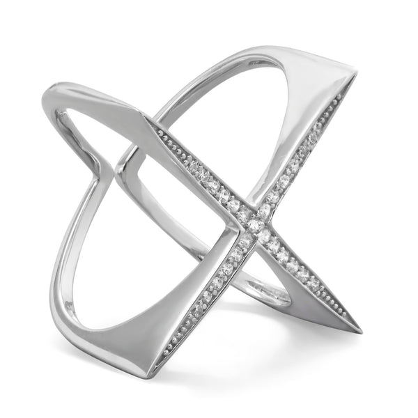 "Rhodium plated sterling silver flat top CZ ""X"" ring. The Iced Sugar Cookie .925 Sterling Silver"