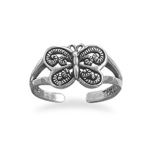 Large butterfly toe rings sterling silver for summer 2016 by The Iced Sugar Cookie