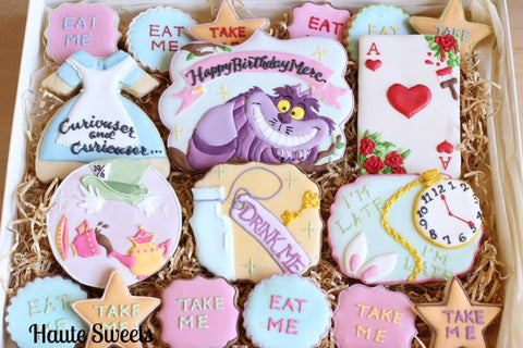 Alice In Wonderland Curiouser and Curiouser Sugar Cookies TheIcedSugarCookie.com Haute Sweets