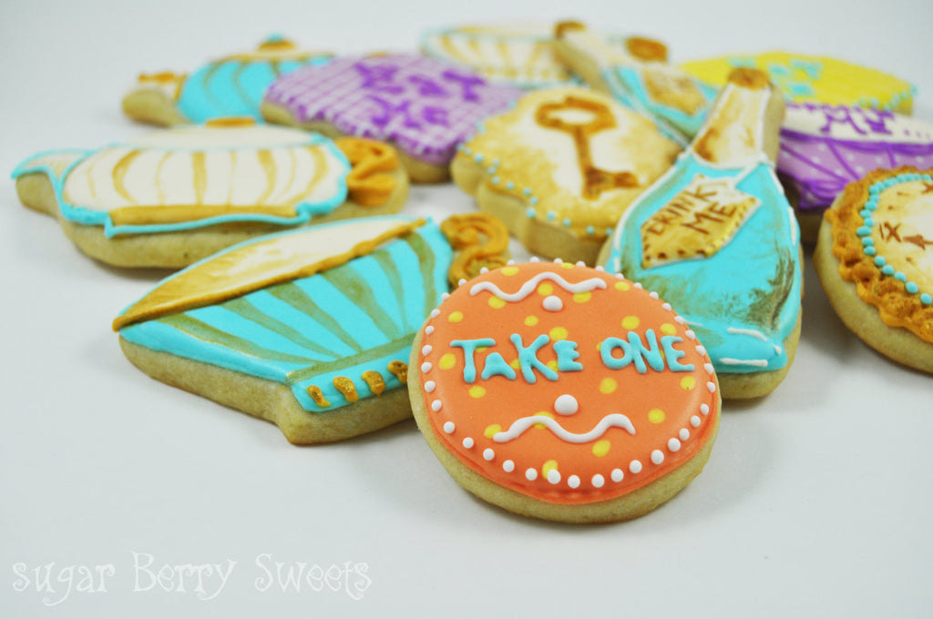 Alice In Wonderland Birthday Party Cookies-Tea Party Sugar Cookies TheIcedSugarCookie.com Sugar Berry Sweets