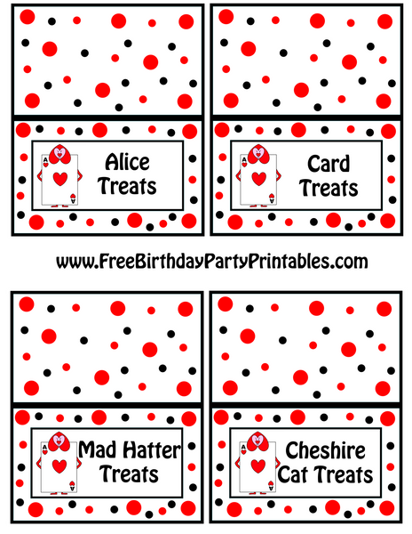 Alice In Wonderland Queens Playing Cards Soldiers Food Label Tent Card by Free Birthday Party Printables AliceTreats Mad Hatter Treats Cheshire Cat Treats Card Treats The Iced Sugar Cookie