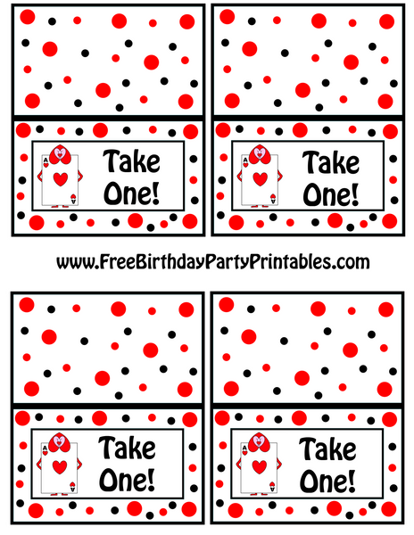 Alice In Wonderland Queens Playing Cards Soldiers Food Label Tent Card by Free Birthday Party Printables Take One The Iced Sugar Cookie