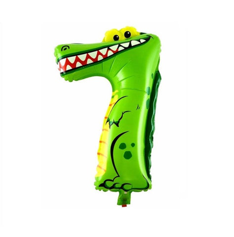 Alligator Balloon-Number Seven Balloons-Crocodile Balloons-Alligator Birthday Party Balloons