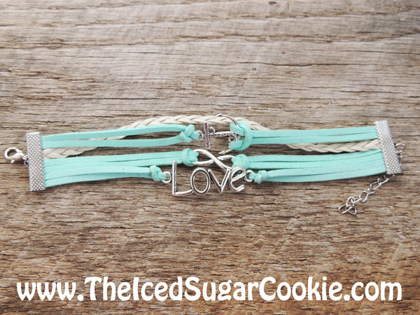 Boho Bracelets Mint Green Anchor Silver Leather Faux bracelets by The Iced Sugar Cookie- Fashion Style- Hipster Tumblr Bohemian