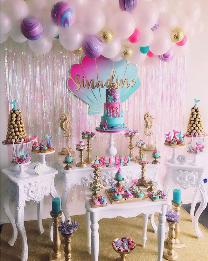 "Pink, Purple & Aqua Mermaid Under The Sea Birthday Party by ""Taartje van Lot"" featured on TheIcedSugarCookie.com #mermaidparty #undertheseaparty #mermaidpartyideas #mermaidbirthdayparty #undertheseabirthdayparty"