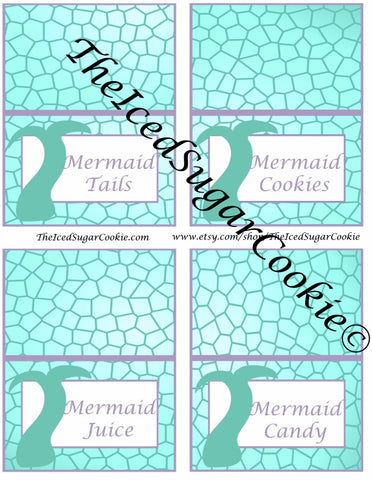 DIY Printable Purple And Aqua Mermaid Birthday Party Food Label Tent Cards Printable Templates Digital Download by The Iced Sugar Cookie-Mermaid Candy, Mermaid Food Party Ideas, Mermaid Cookies, Mermaid Tails, Mermaid Juice