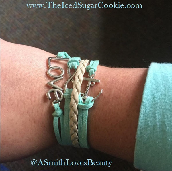 Faux Leather Anchor Love Bracelet by The Iced Sugar Cookie Photo by Asmithlovesbeauty