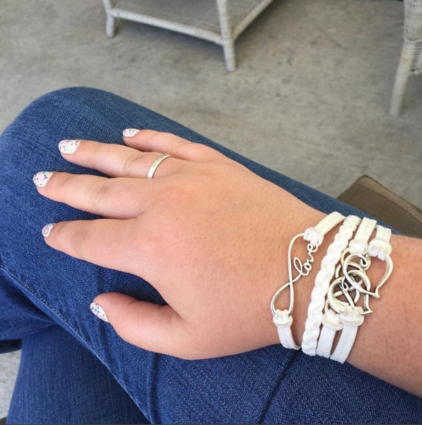Hearts Love White Faux Leather Bracelet by The Iced Sugar Cookie- Fashion Jewelry Worn by Asmithlovesbeauty