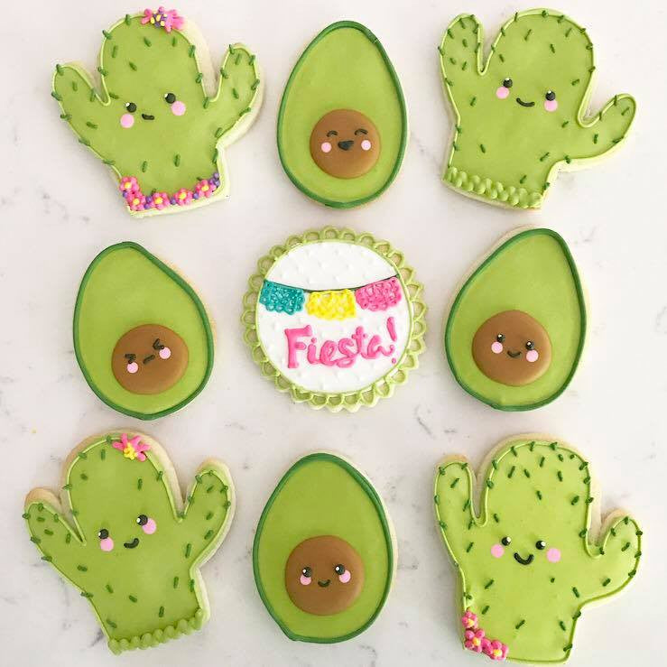 Avocado And Cactus Sugar Cookies TheIcedSugarCookie.com Peapods Cookies