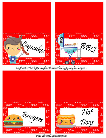 BBQ Birthday Party Food Tent Cards Blank Template by The Iced Sugar Cookie- Cupcakes Burgers BBQ Burgers Hot Dogs