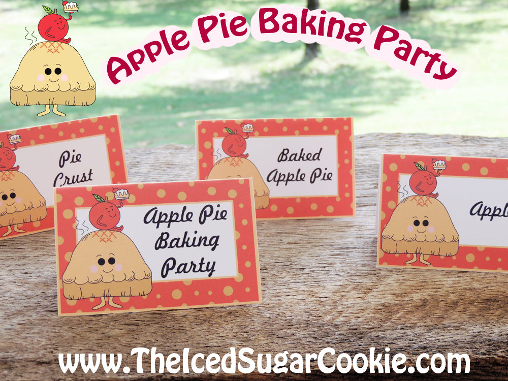 Apple Pie Baking Party Food Label Tent Cards-Fall Printable DIY Template Cutout Digital Download-Pie Crust, Apples, Baked Apple Pie, Apple Pie Baking Party by The Iced Sugar Cookie