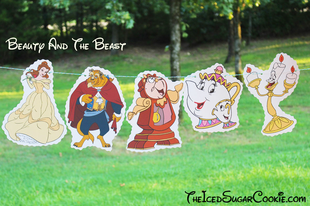 Beauty And Beast Birthday Party Banner DIY Ideas- Belle, Beast, Lumiere Candlestick, Cogsworth Clock, Mrs Potts and Chip,