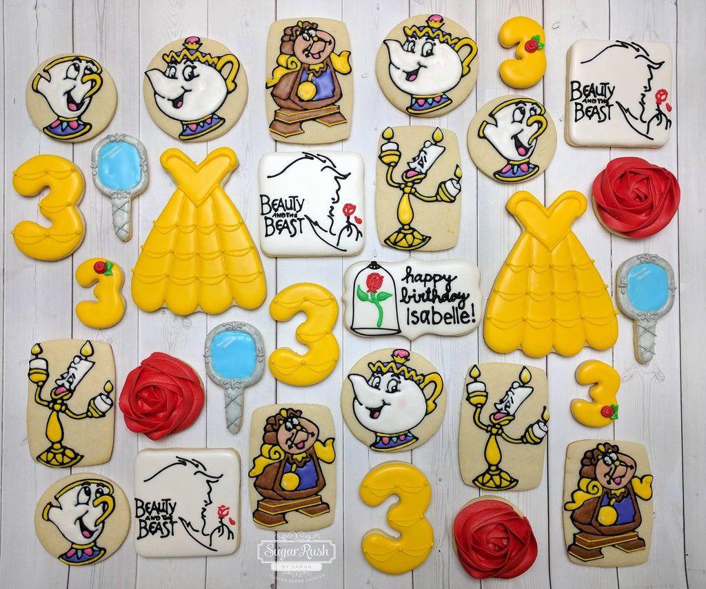 "Beauty And The Beast ""Tale As Old As Time"" Birthday Party Sugar Cookies TheIcedSugarCookie.com Sugar Rush By Sarah"