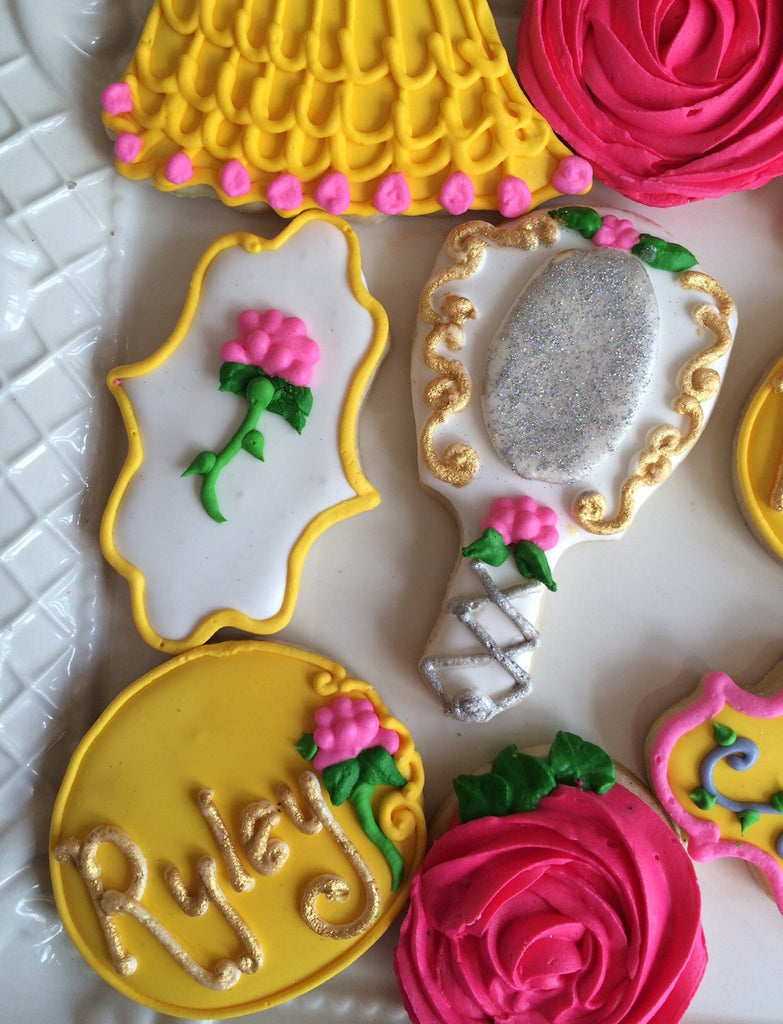 Beauty And The Beast Birthday Party Cookies. TheIcedSugarCookie.com Chevons Couture Sweets Etsy Shop