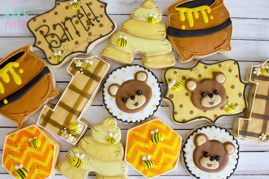 Bears And Bees Birthday Party Cookies -Double Chocolate, Gingerbread or Vanilla Bean TheIcedSugarCookie.com Bake Hard Bakery