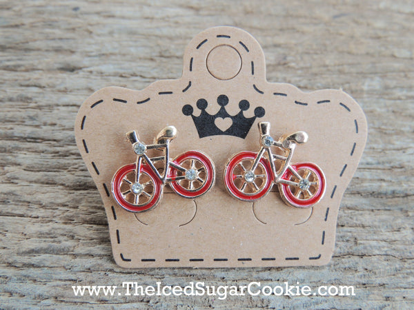 Bike Bicycle Earrings The Iced Sugar Cookie Fashion Style Red Bicycle