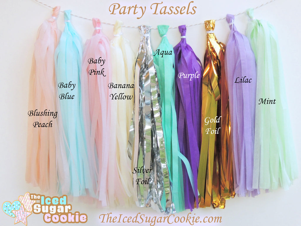 Tissue Paper Party Tassels TheIcedSugarCookie.com Birthday Party Tissue Paper Garland Banners