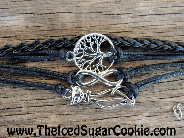 Tree of Life Kitty Cat Infinity Sign Black Leather Bracelet By The Iced Sugar Cookie- fashion jewelry