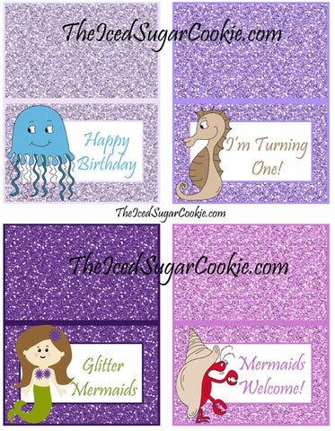 Mermaid Food Cards Birthday Party Printables Template Digital Download DIY Food Cards that say-Jellyfish, Seahorses, Mermaids, Crabs Food Cards that say-Ocean Water, Under The Sea Cupcakes, Seaweed, Glitter Sea Shells Food Cards that say-Fish Eggs, Ocean Waves, Mermaid Sandwiches, Chocolate Sea Shells Food Cards that say-Starfish, Urchins, Mermaid Juice, Pearls Food Cards that say- Happy Birthday, I'm Turning One!, Glitter Mermaids, Mermaids Welcome! Food Cards that say- 1, 2, 3, 4 Food Cards that say- Guess How Many Seashells, Take A Guess, How Many?, How Many Pearls? Food Cards-Blank with pictures- (so you can write or type your own words) Food Cards- Blank with no pictures- (so you can write or type your own words)