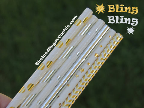 Bling Bling Gold Silver Foil Drinking Paper Straws DIY Birthday Party Ideas Supplies Baby Shower Wedding