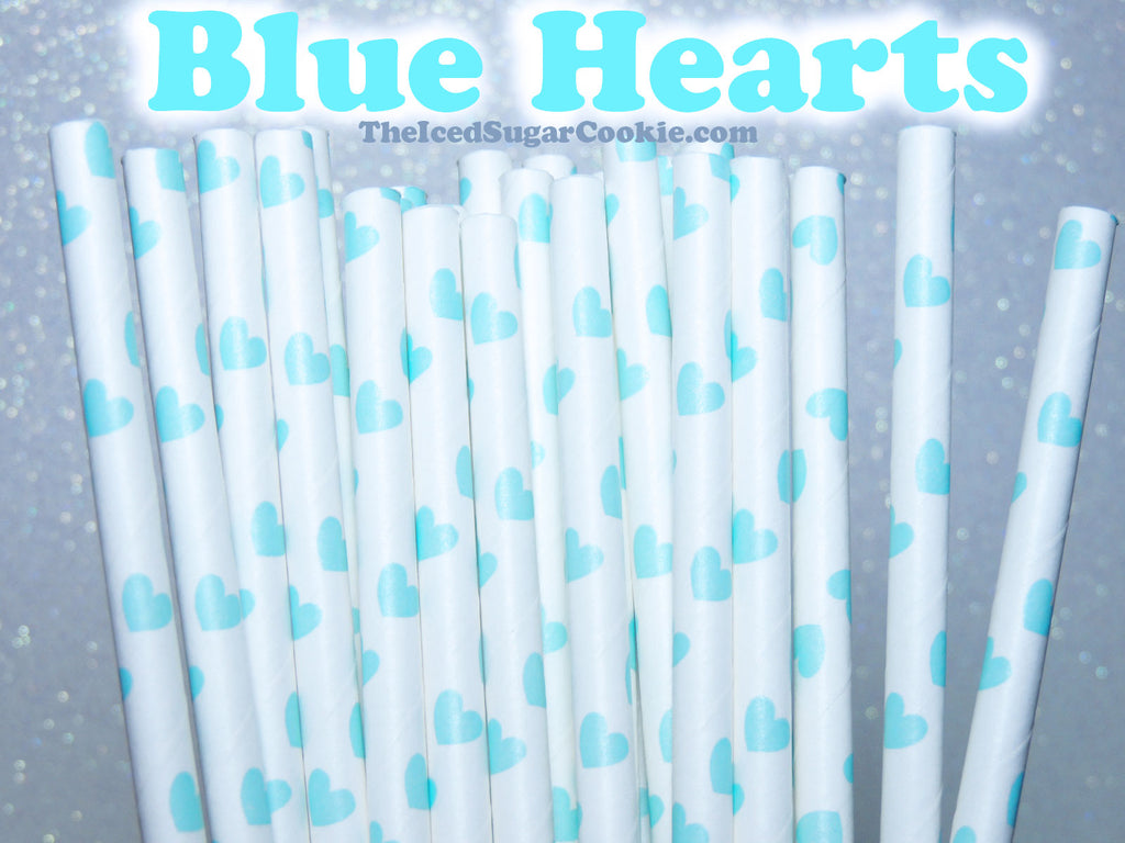 Unicorn Blue Hearts Birthday Party Straws TheIcedSugarCookie.com