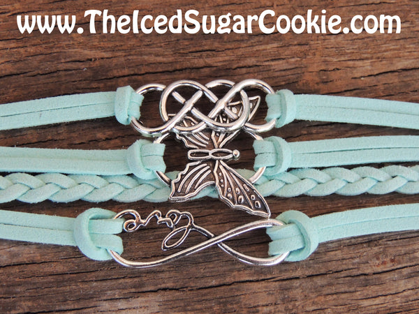 Butterfly Faux Leather Bracelet Aqua Mint Green Bracelets by The Iced Sugar Cookie