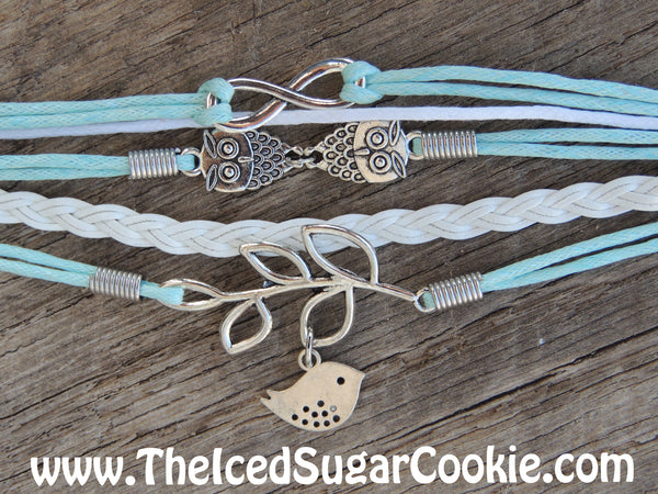 Dove Owl  White Blue Faux Leather Bracelet By The Iced Sugar Cookie- Fashion Jewelry