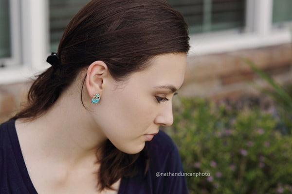 Blue Owl Earrings by The Iced Sugar Cookie- Fashion Jewelry- Photo by Nathan Duncan Photo Model Paula