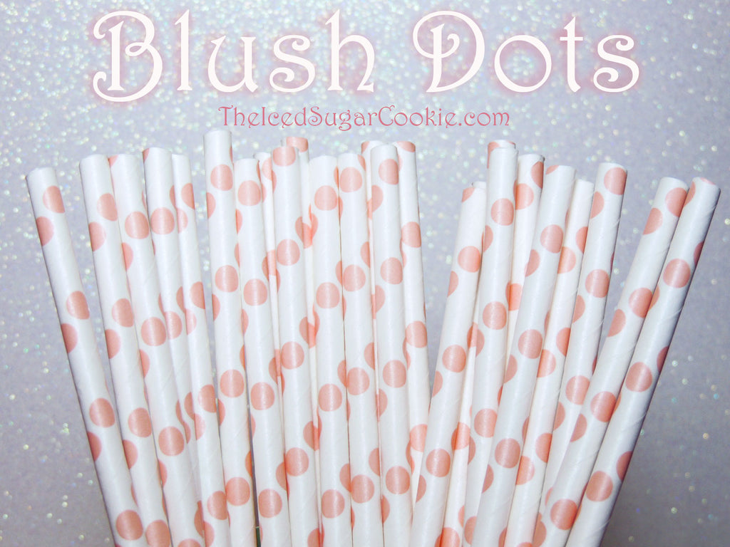 Blush Dots Birthday Party Straws TheIcedSugarCookie.com