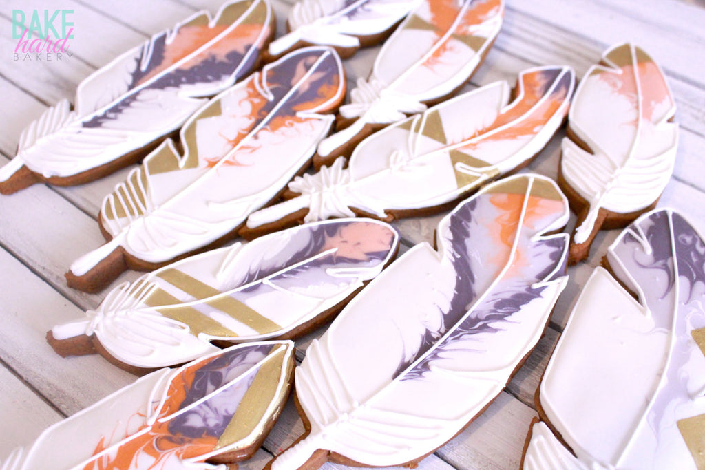 Tribal Feather Birthday Party Sugar Cookies TheIcedSugarCookie.com Bake Hard Bakery