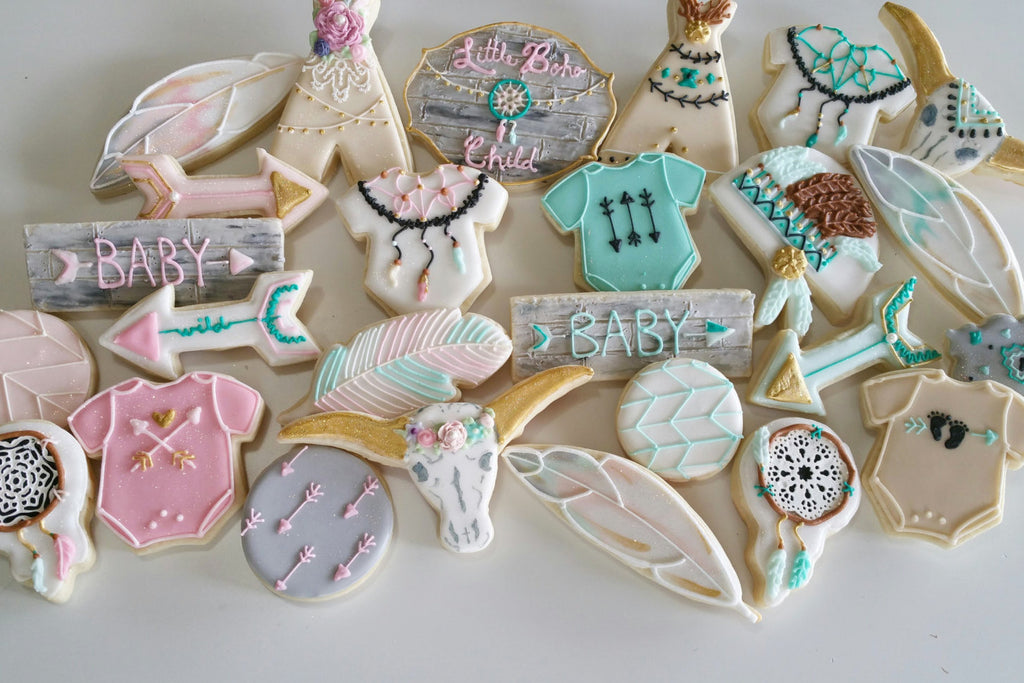 Little Boho Child Baby Shower Cookies